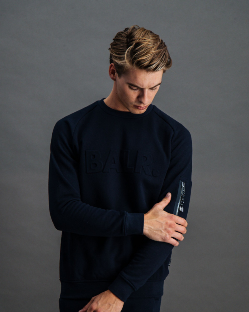 BALR. Embossed Cord Crew Neck Navy Front