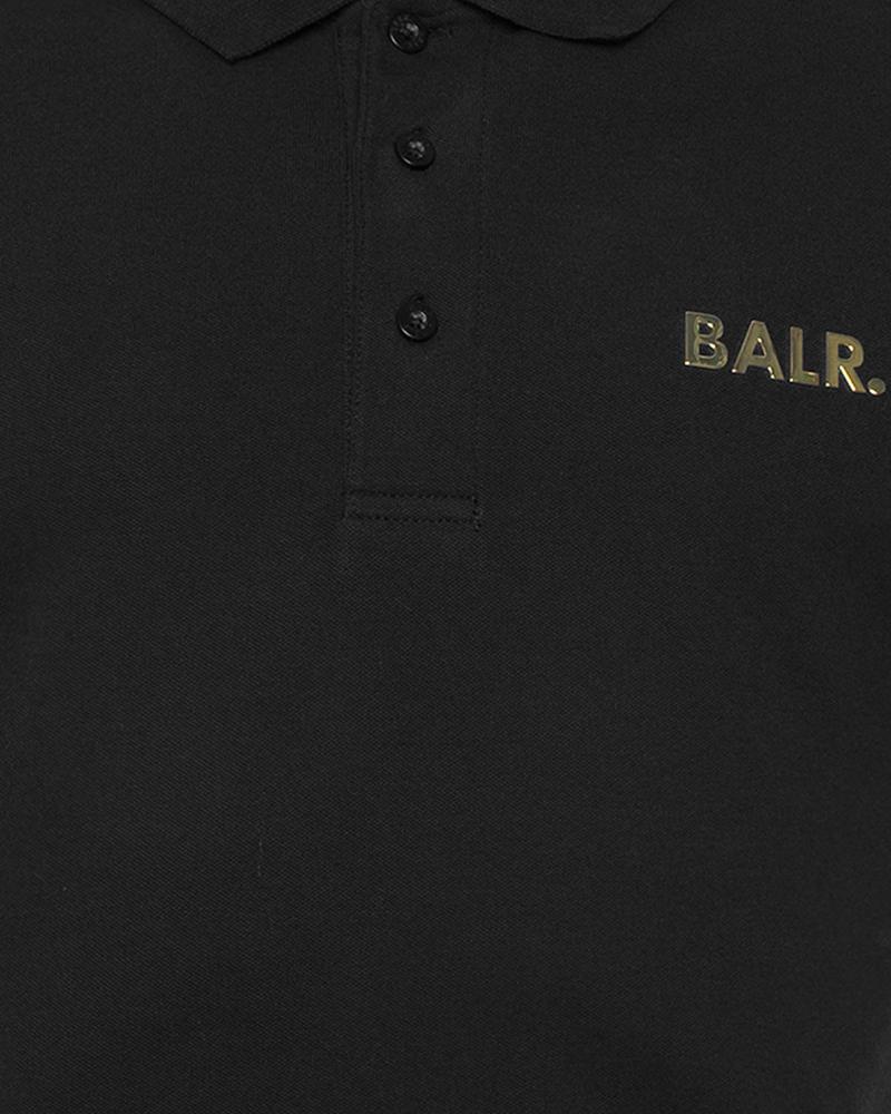 Brand Gold Metal Logo Polo Shirt Black