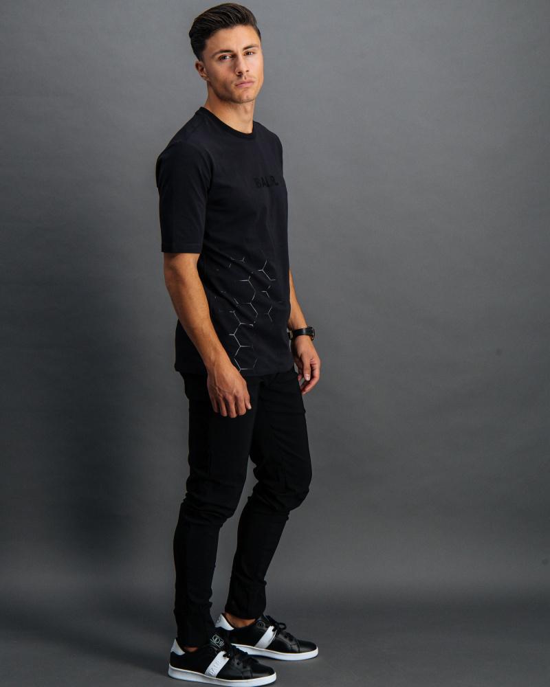 BALR. black on black panel t shirt front