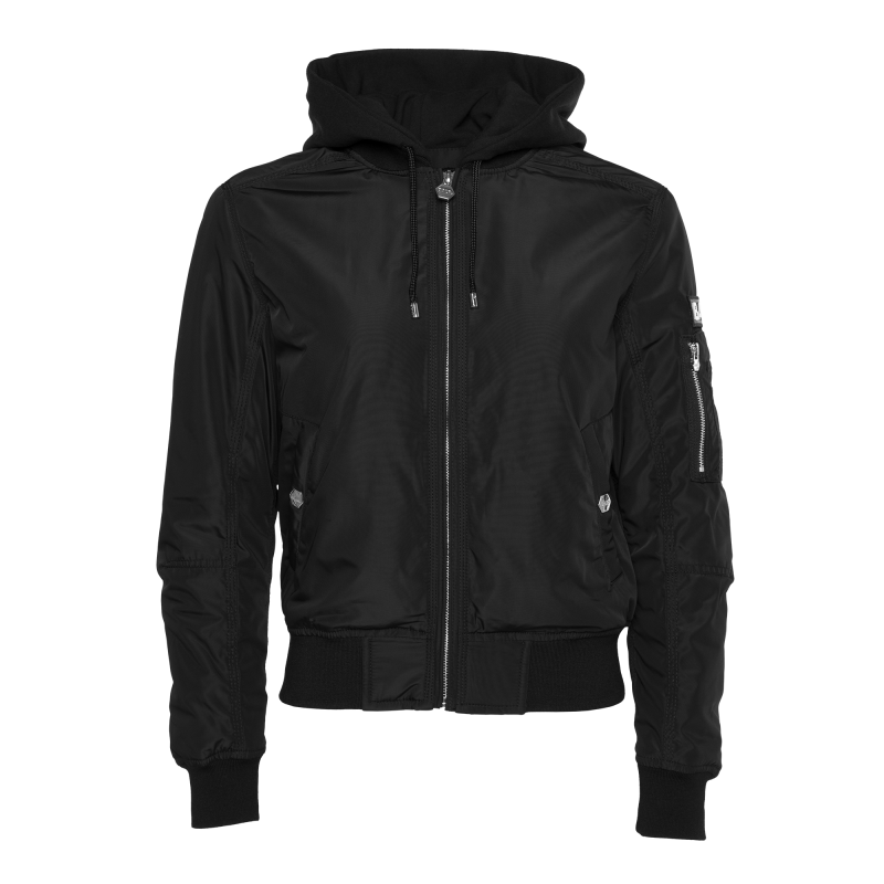 Women Hooded Bomber Jacket Black