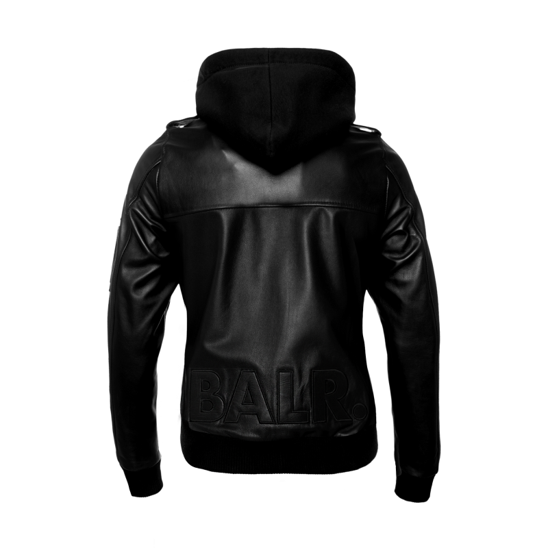 BALR. Hooded Leather Bomber Jacket Back