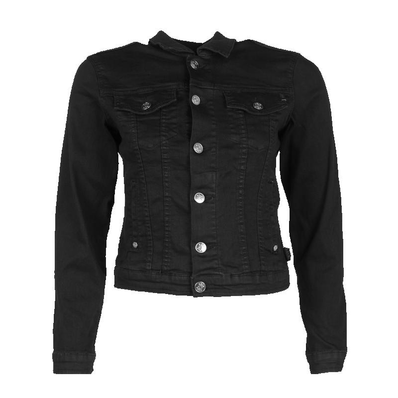 Black Denim Jacket Women Front
