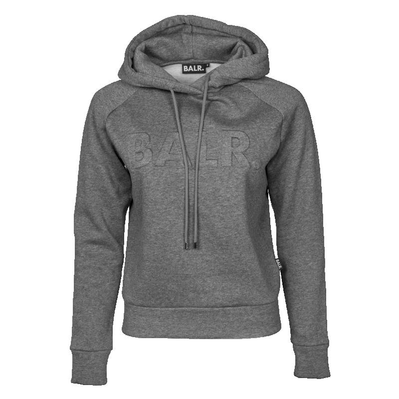 Grey Embossed Hoodie Front