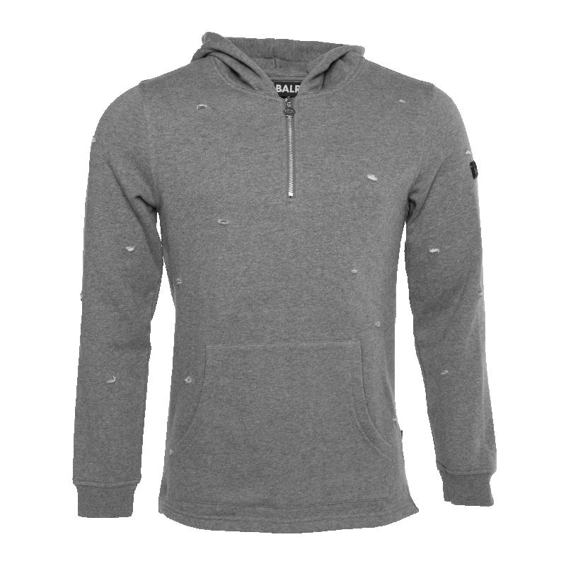 Distressed Half Zip Hoodie Grey Front