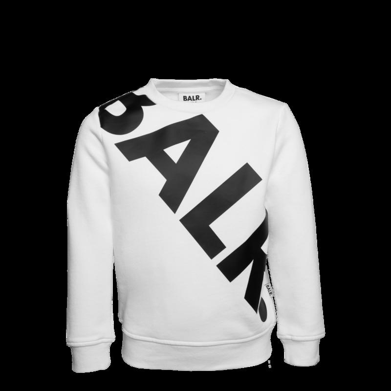 Tilted Logo Crew Neck Sweater Kids White