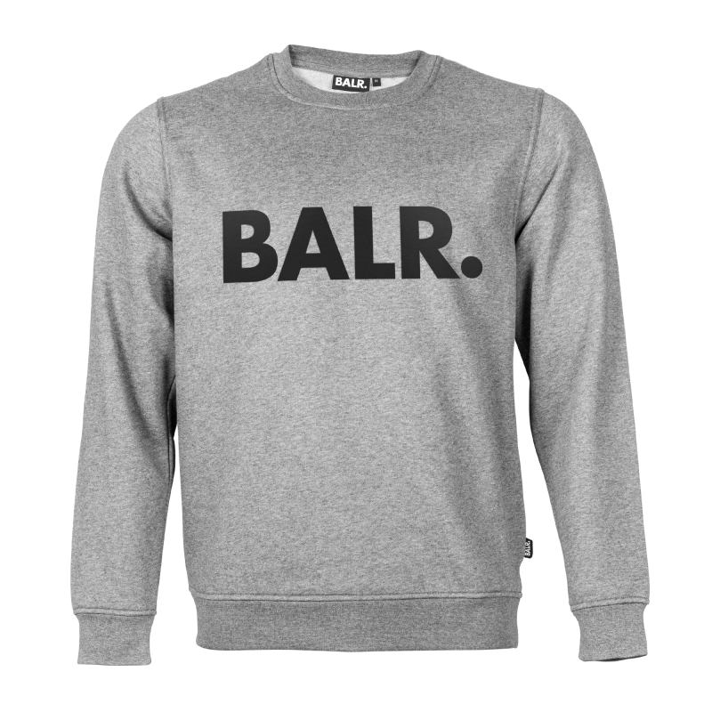 Brand Crew Neck Grey Black Text