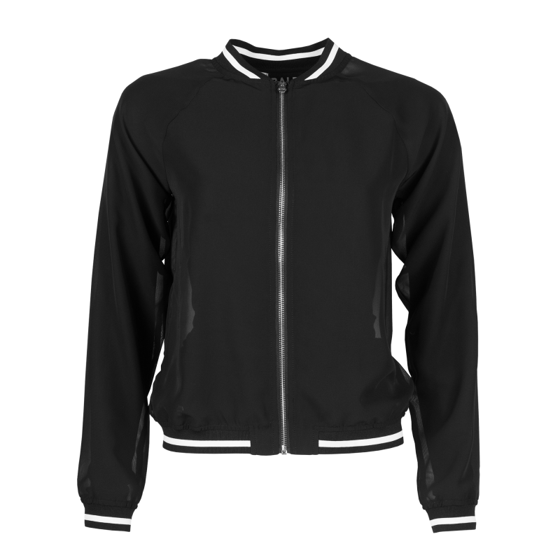Women Mesh Bomber Jacket Black