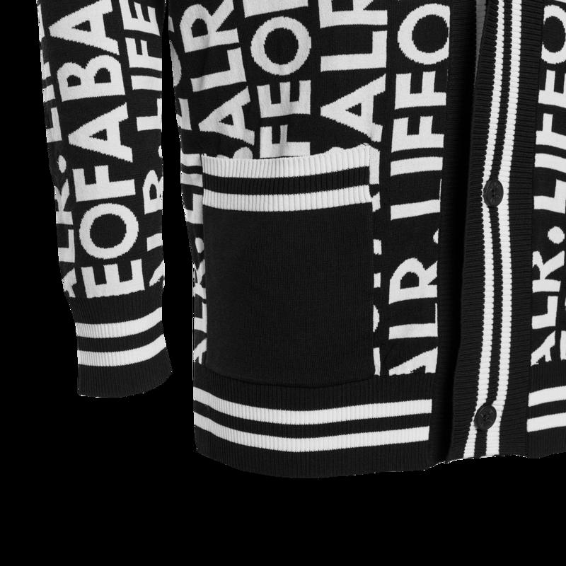 LOAB Graphic Straight Cardigan Zwart