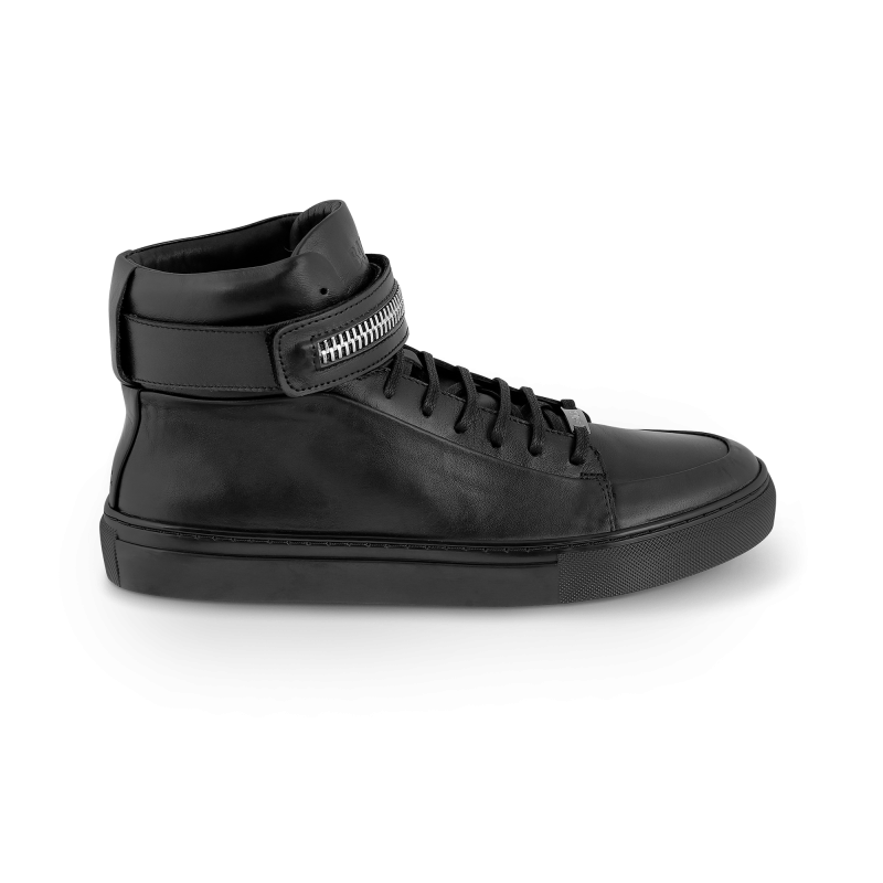 Black Leather Sneaker Side