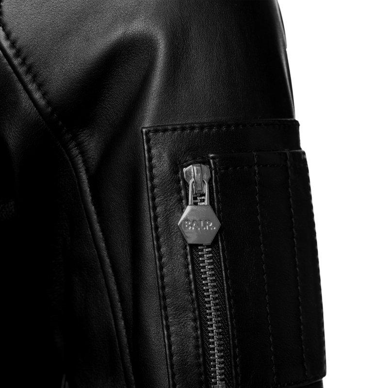 BALR. Hooded Leather Bomber Jacket Detail 2