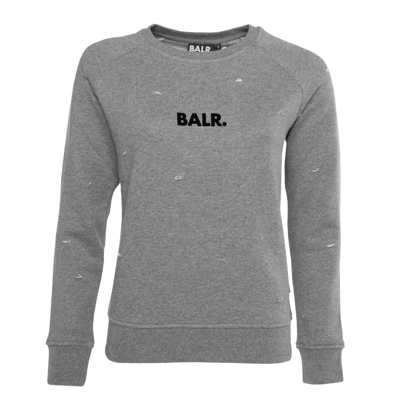 Women Distressed Crew Neck Sweater Grey Front