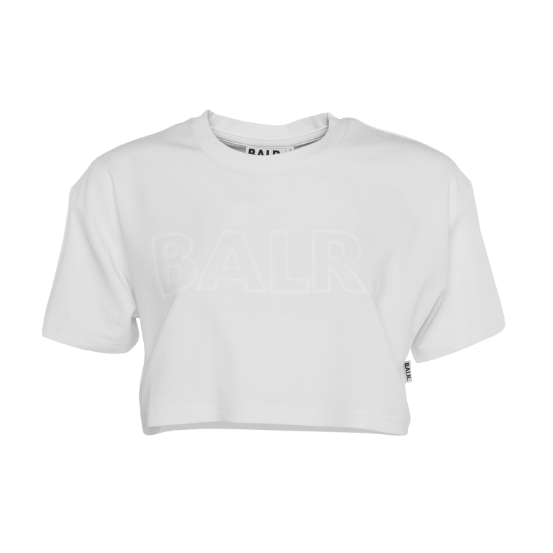 White Cropped Tee Front
