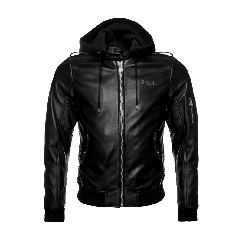 BALR. Hooded Leather Bomber Jacket Front