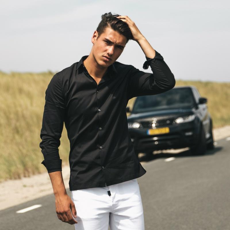 Black Slim-Fit Formal Shirt Lifestyle