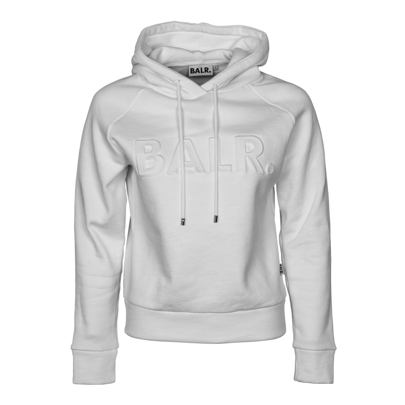 White Embossed Hoodie Front