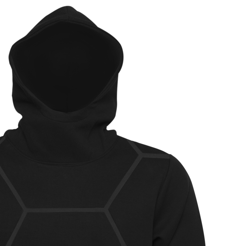 BALR. Black on Black All-Over Hoodie Detail 1