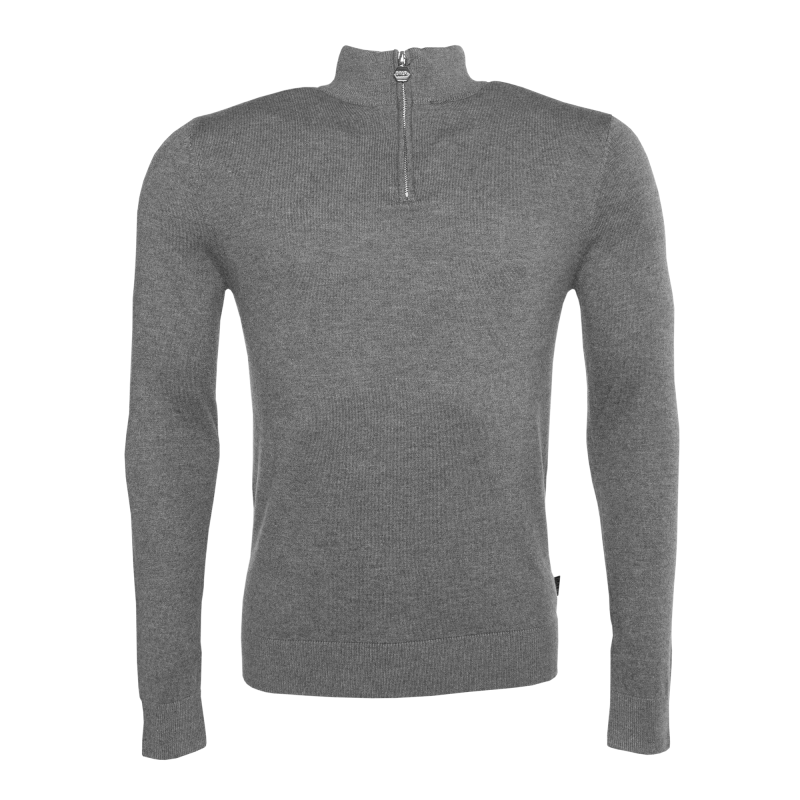 Knitted Half-Zip Sweater Grey
