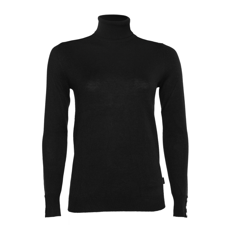 Women Turtle Neck Sweater Black Front