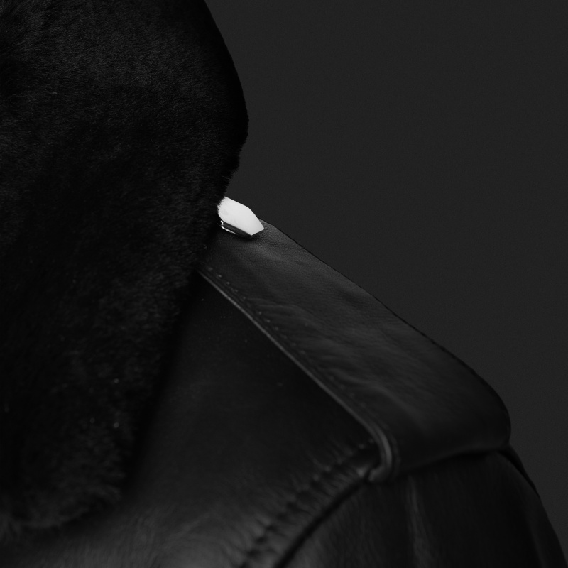 Leather Biker Jacket Shoulder Detail