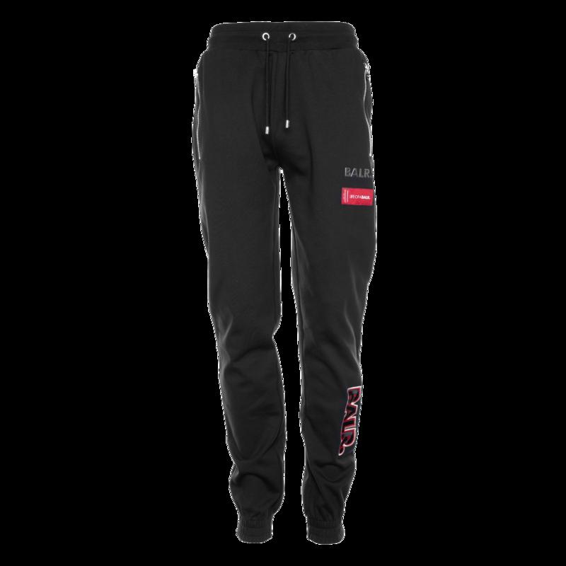 embroidered slim zip sweatpants Black