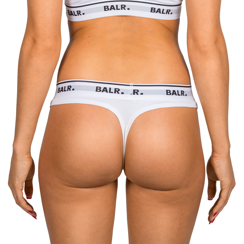 2-Pack White Thong Back On Model