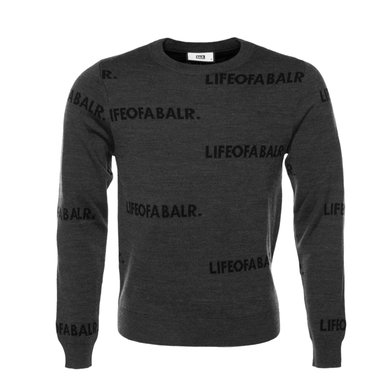 All-Over LIFEOFA Crew Neck Sweater Grey - Grey