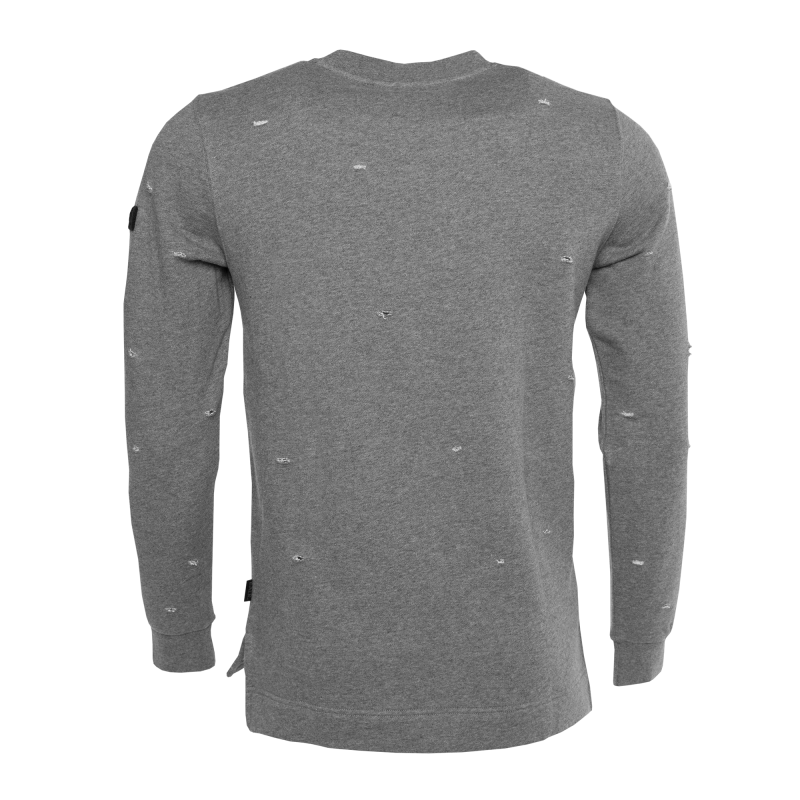 Distressed Crew Neck Sweater Grey Back