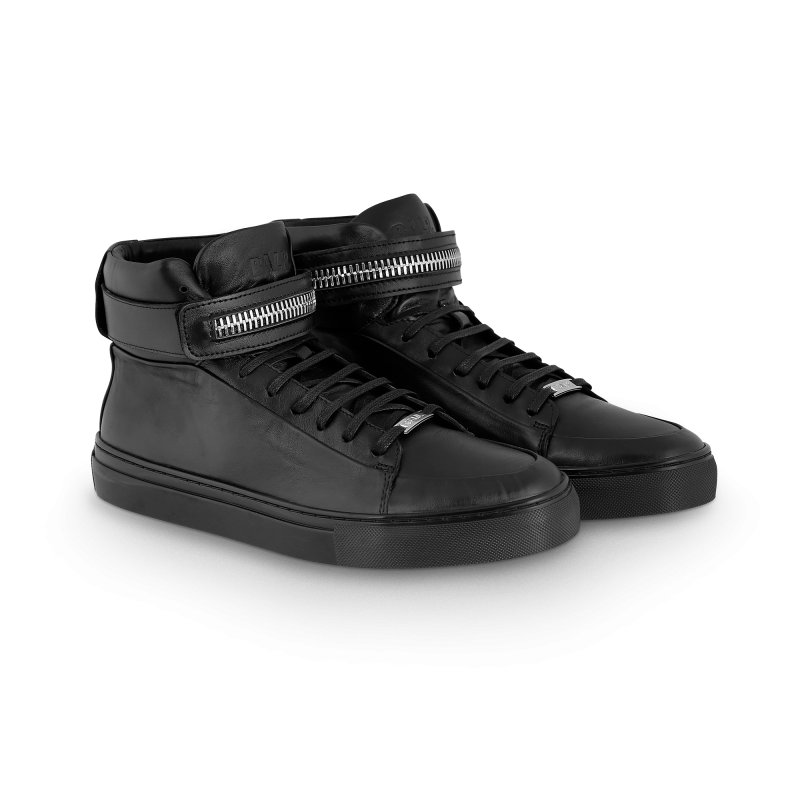 Black Leather Sneaker Front