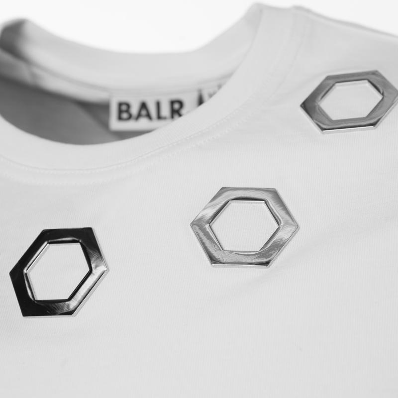 White Hexagon Shirt Metal