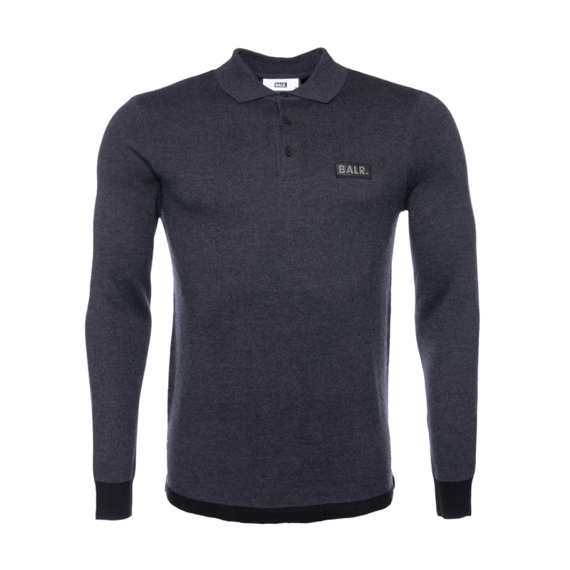 BALR. Gun Metal Badge Longsleeve Polo Shirt Grey Grey