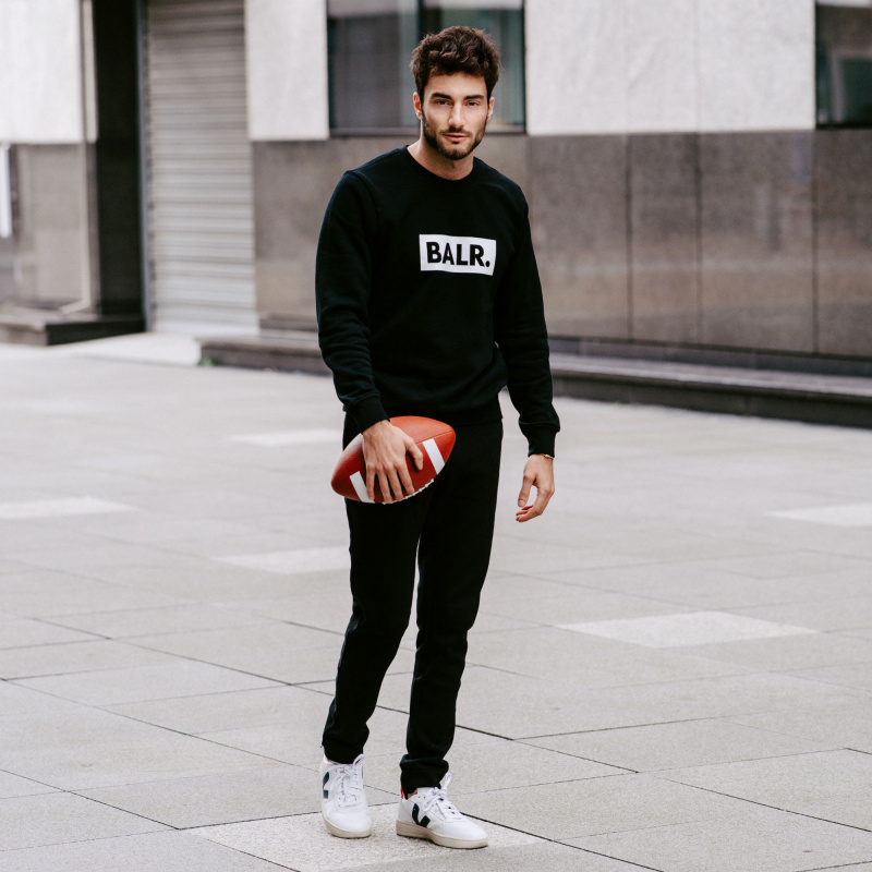 BALR. Black Crew Neck Club Sweater Lifestyle