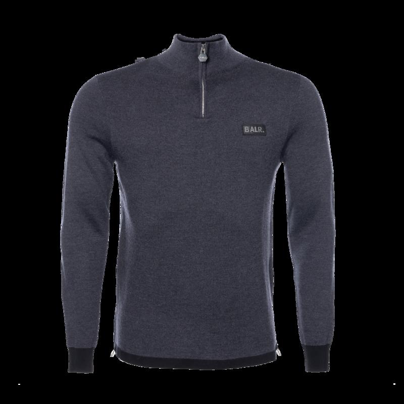 BALR. Gun Metal Badge Half-Zip Sweater Grey - Grey
