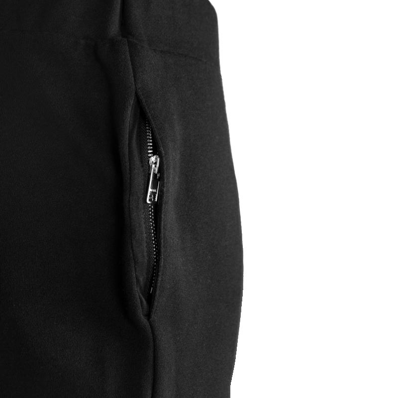 Black Zipped Sweatpants Women Pocket