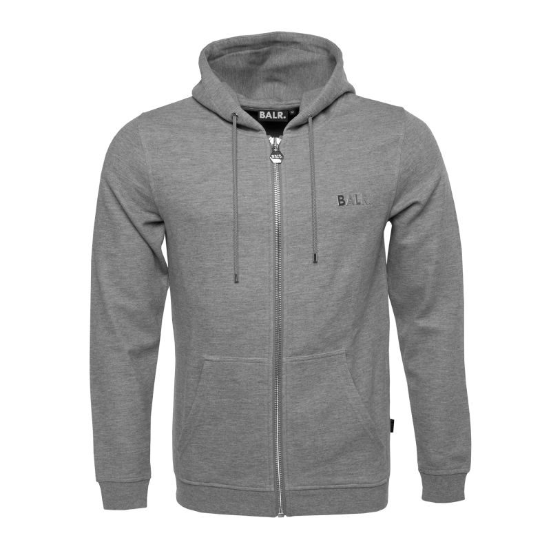 BALR. Q-series Zipped Hoodie Grey Front