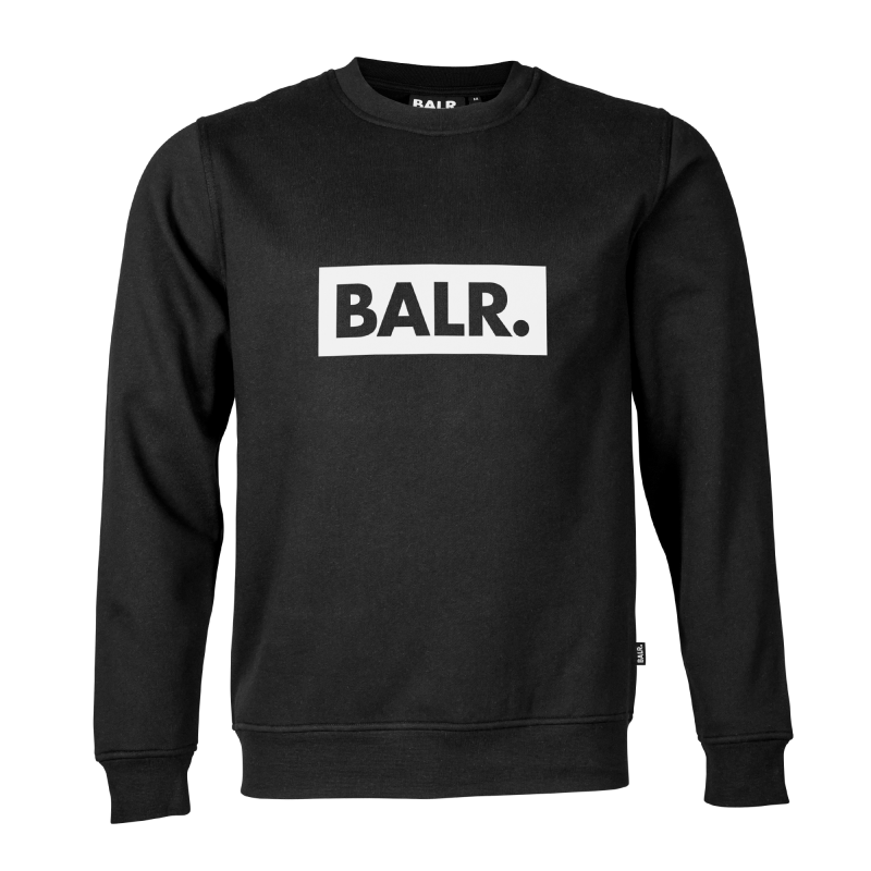 BALR. Black Crew Neck Club Sweater Front