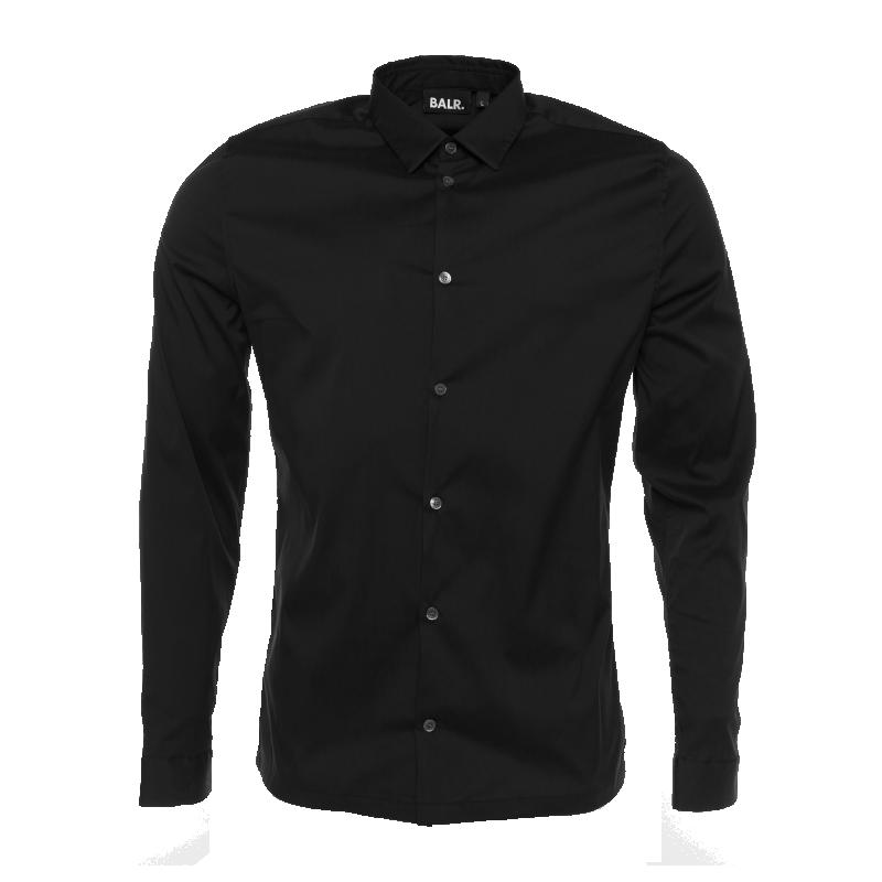 Black Slim-Fit Formal Shirt Front