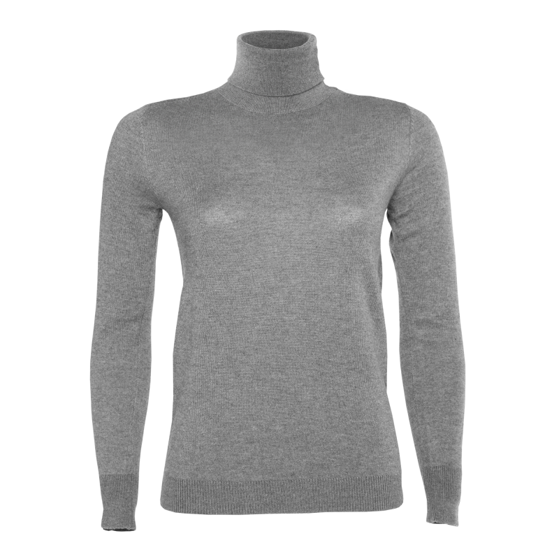 Women Turtle Neck Sweater Grey Front