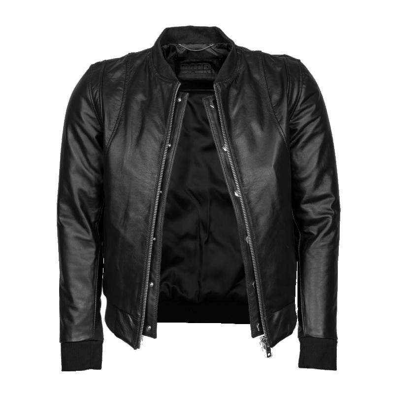 Leather Bomber Jacket Open