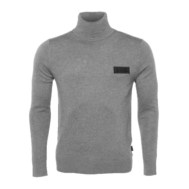 Badge Turtleneck Sweater Grey