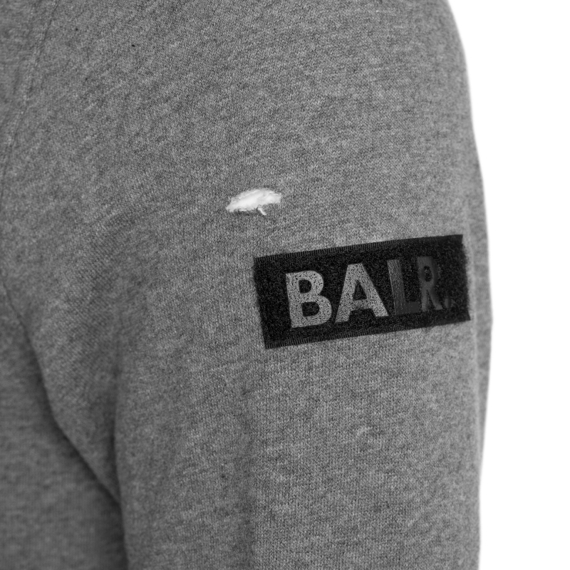 Distressed Crew Neck Sweater Grey Detail