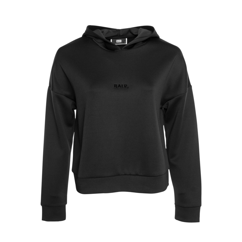 BALR. Black Metal Plate Hoodie Women Black Size S front