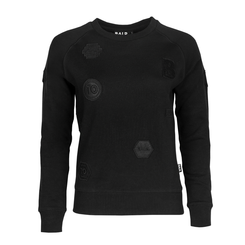 Women Patch Crew Neck Black