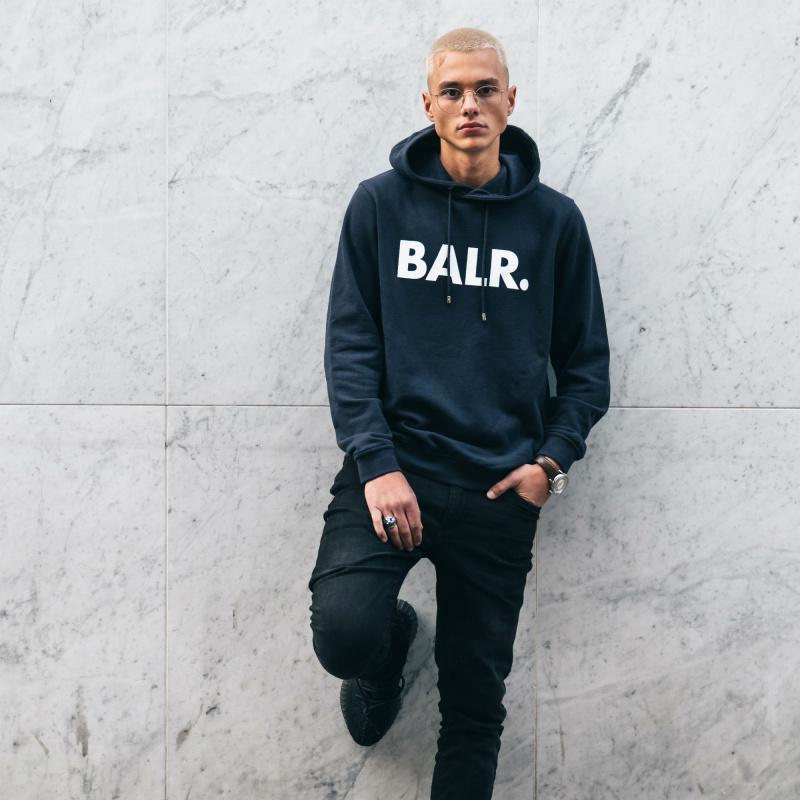 BALR. Navy Brand Hoodie Lifestyle