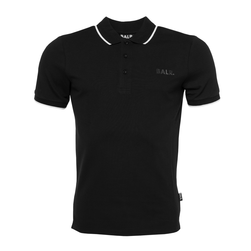 BALR. Brand Metal Logo Polo Shirt Black Front