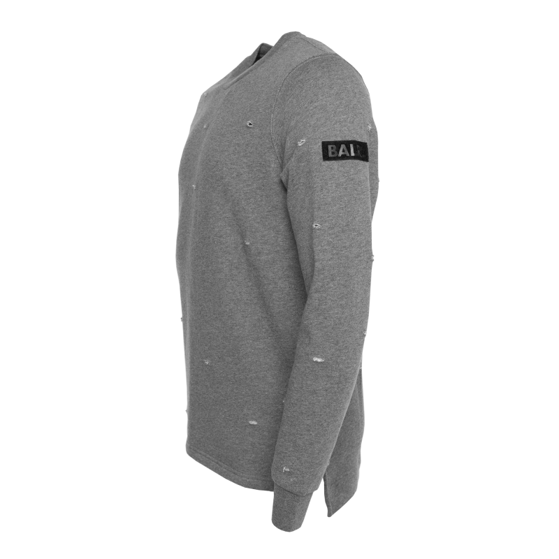 Distressed Crew Neck Sweater Grey Side