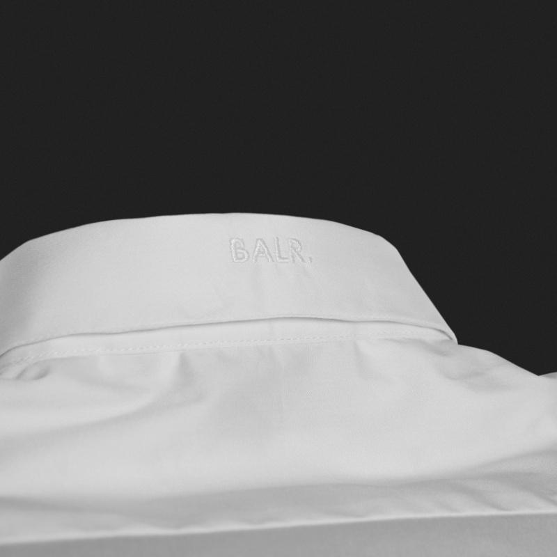 White Slim-Fit Formal Shirt Detail