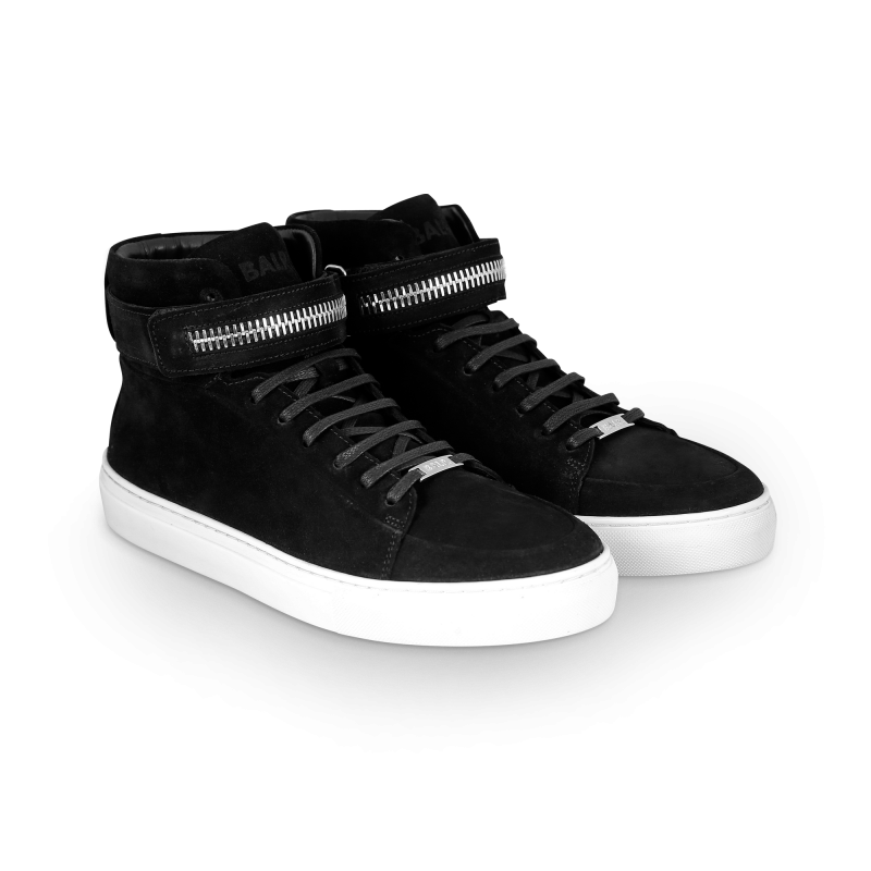 Black And White Suede Sneaker Front