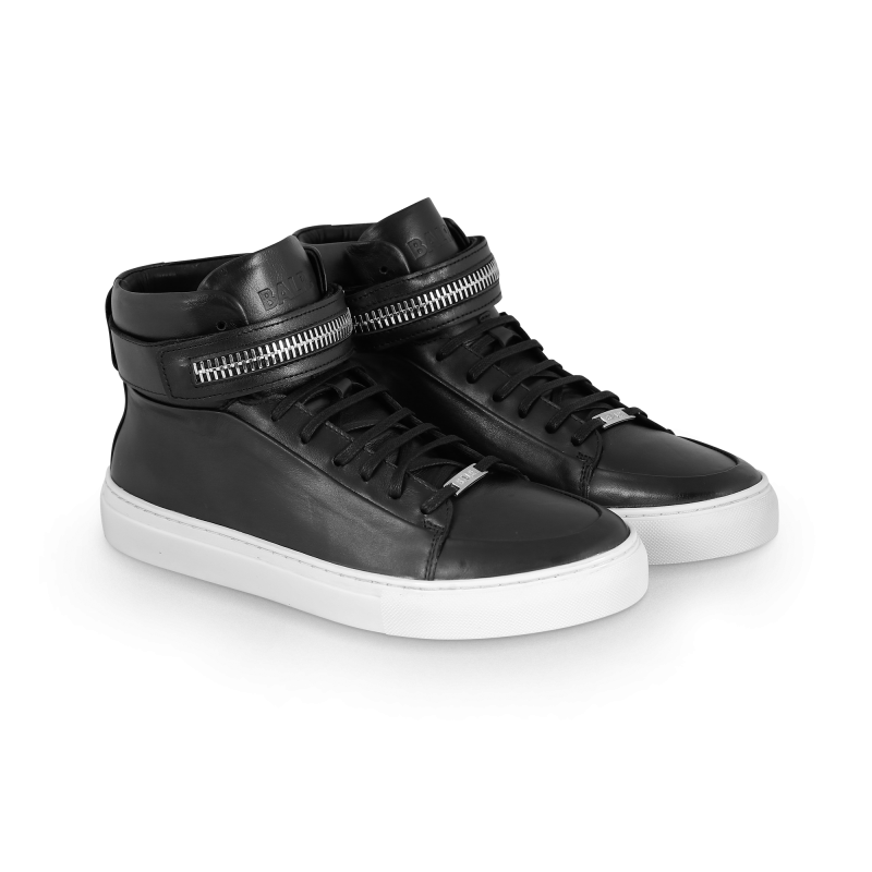 Black And White Leather Sneaker Front