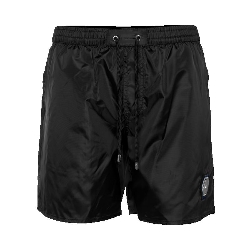 BALR. Metal Hexagon Badge Swim Shorts Black
