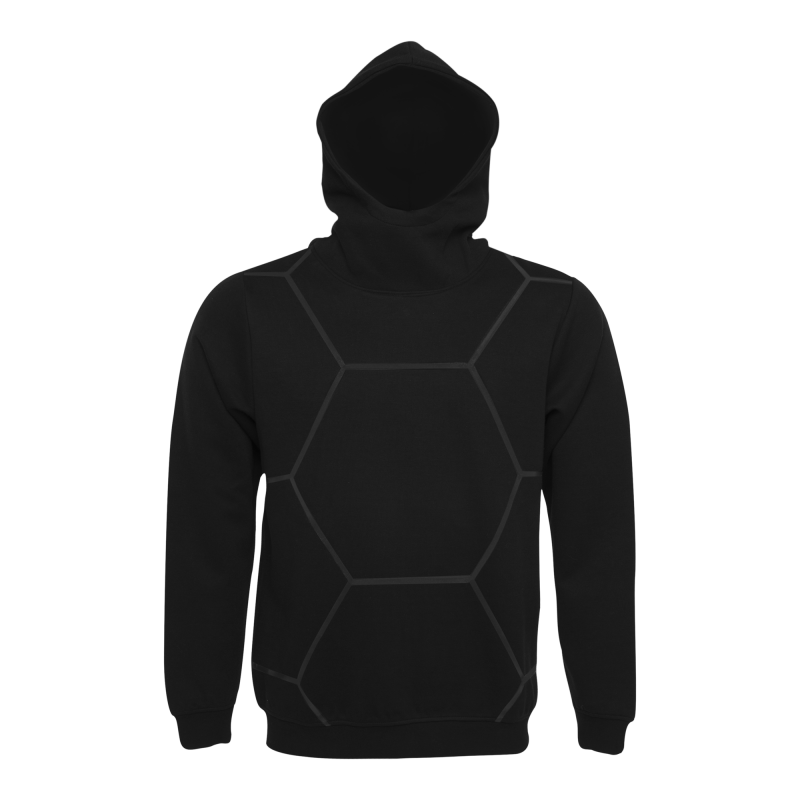 BALR. Black on Black All-Over Hoodie Front